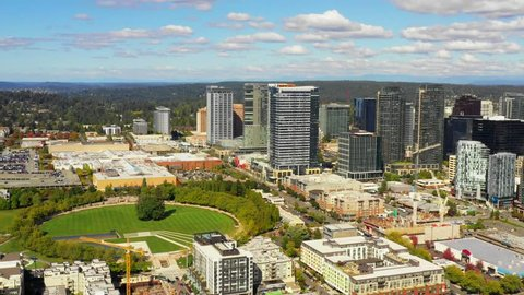 Aerial City of Bellevue downtown drone footage