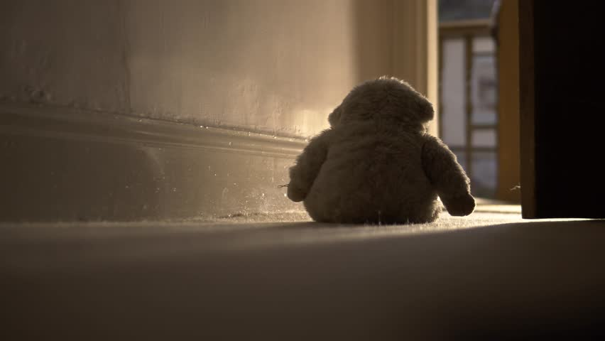 Domestic Child Abuse Concept With Father Kicking Away Teddy Bear, 4K