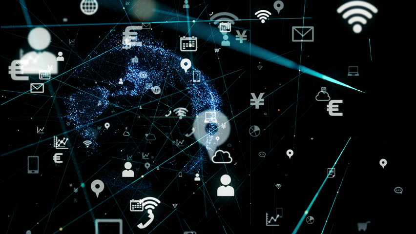 Business and technology concept. IoT (Internet of Things) . Mobile communication network. | Shutterstock HD Video #1017276244