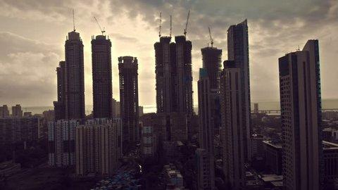 building silhouette drone view mumbai