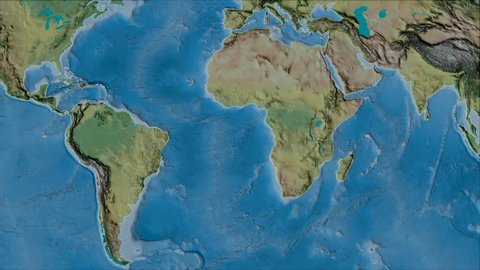 African tectonic plate shape animated on the topographic map in the van der Grinten projection with oblique transformation. Stroke first. Peter Bird's division