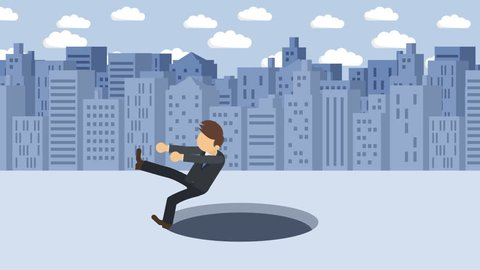 Business man fall into the hole. Background of buildings. Risk concept. Loop illustration in flat style.