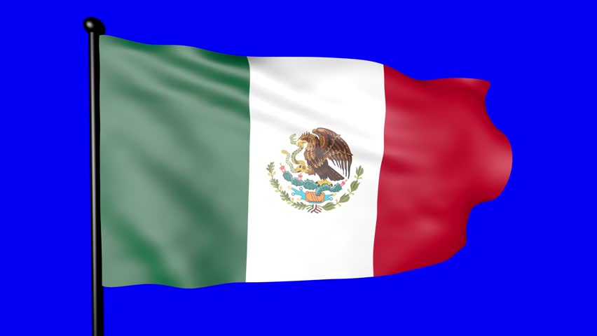Mexican flag with blue background