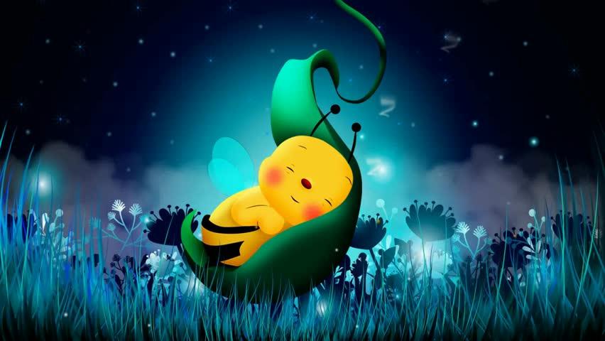 Cute Bee Cartoon Sleep On Stock Footage Video 100