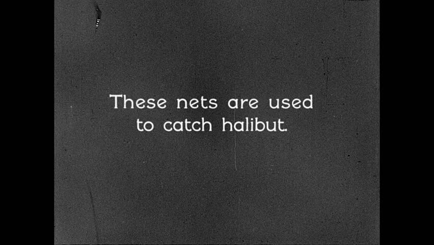 1930s: UNITED STATES: men catch halibut with nets. Halibut nets on boat. Men unload fish on deck