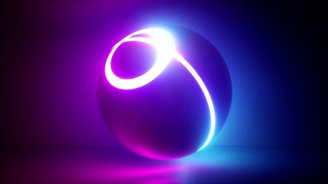 3d rendering, glowing neon light sphere, globe, laser show, disco ball, esoteric energy, abstract background, looped animation, ultraviolet spectrum