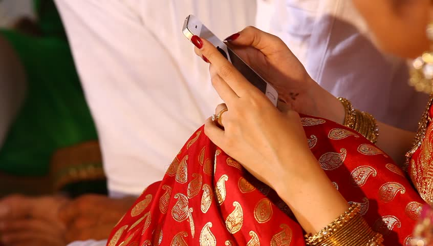 Female Model Hand with cell phone 1st Jan 2018 Hyderabad India