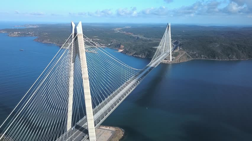 Aerial of Yavuz Sultan Selim Bridge, Istanbul. World's widest suspension bridge, it has a main span of 1408m, makes it one of the longest railroad suspension bridges. Bridge towers are 330m high