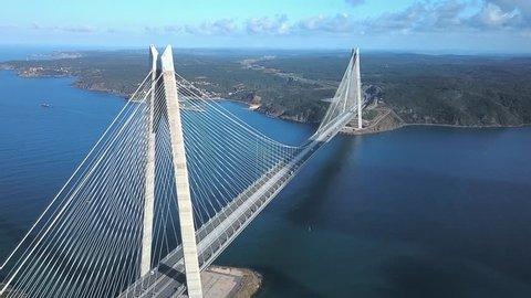 Aerial of Yavuz Sultan Selim Bridge, Istanbul. World's widest suspension bridge, it has a main span of 1408m, makes it one of the longest railroad suspension bridges. Bridge towers are 330m high