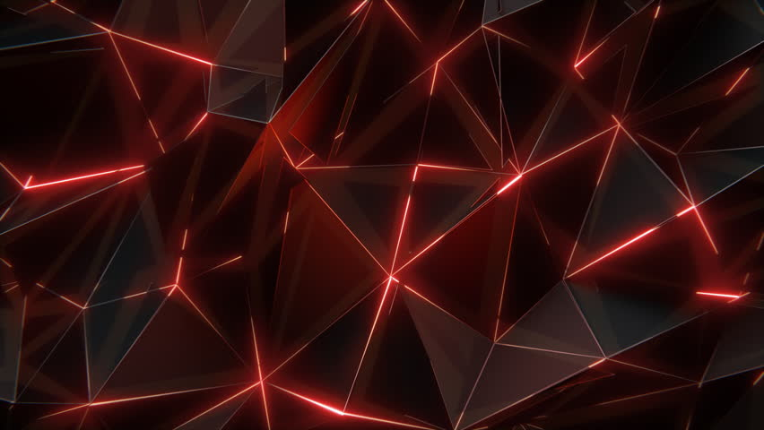 Low-poly dark waving surface with glowing light. 3D abstract background. Seamlessly looping video