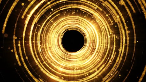 Golden glamour tunnel with lights and particles. Magic dust come from the center. Abstract background for celebration. Seamless loop.