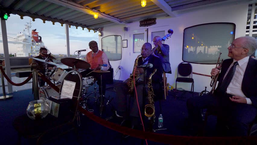 New Orleans, Louisiana / USA - May 14th 2018: Jazz Band Plays on Riverboat, New Orleans   Shutterstock HD Video #1017903214