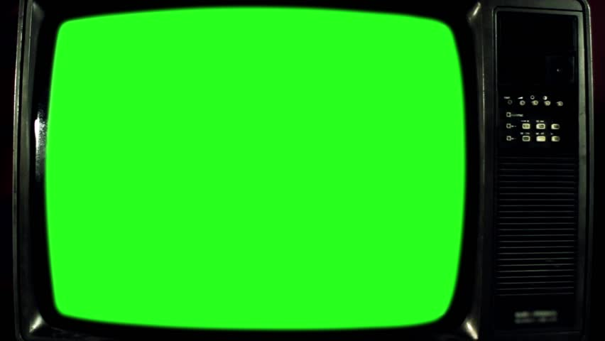 Old Television with Green Screen. Iron Tone. Ready to Replace Green     Shutterstock HD Video #1017941584