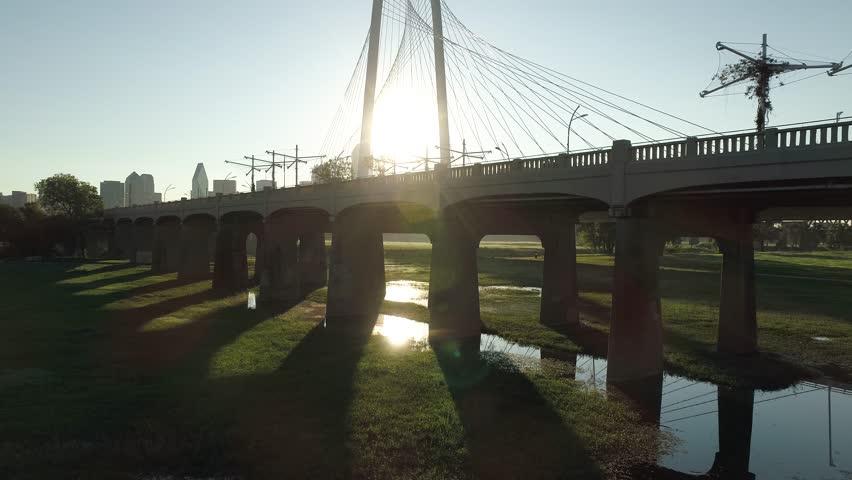 4K Dallas Texas Aerial Sunrise Trinity River Bridge