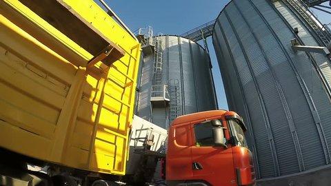 Storage Grain Bin Loading Stock Video Footage - 4K and HD Video