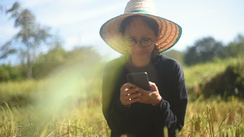 Young smart farmer using smartphone in her paddy field. | Shutterstock HD Video #1017978394