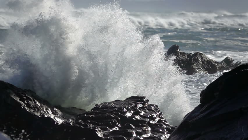 Extreme Wave crushing coast , Large Ocean Beautiful Wave, Awesome power of waves breaking over dangerous rocks