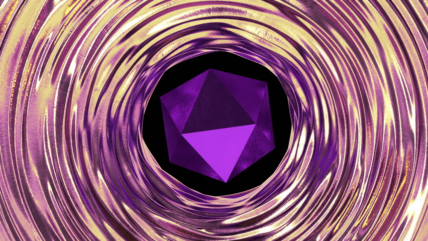 Purple geometric object with gold and violet liquid metal around. Abstract loop animation. | Shutterstock HD Video #1018020844