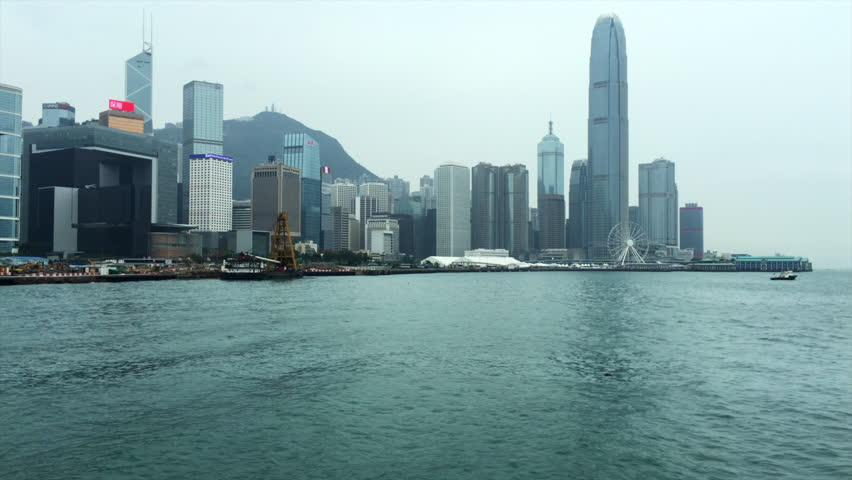View at Central Island across Victoria Harbour, Hong Kong | Shutterstock HD Video #1018042384