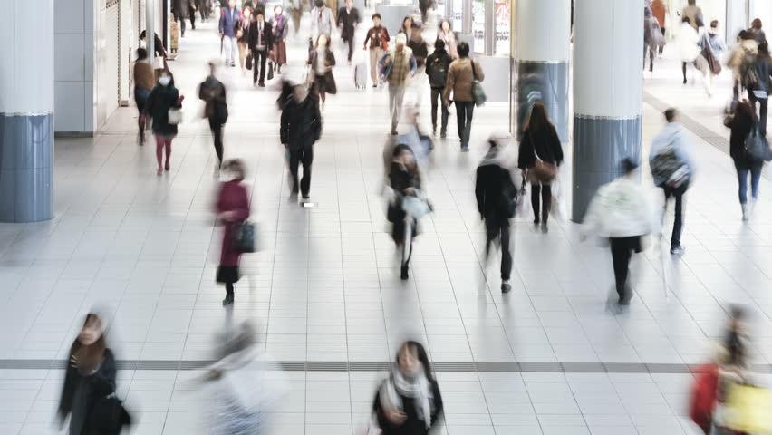 Commuters walking through shibuya station at rush hour shibuya tokyo honshu | Shutterstock HD Video #1018044904