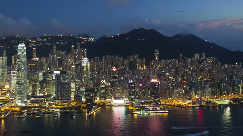 Aerial view over hong kong island looking towards victoria peak showing | Shutterstock HD Video #1018046164