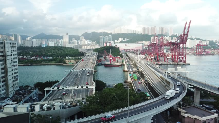Aerial bird eye view Marine industry Container transport twilight  | Shutterstock HD Video #1018069354