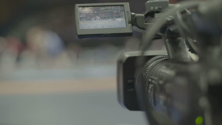 KYIV, UKRAINE – APRIL 24, 2017. TV camera during shooting. Media, news, press, live, broadcast   Shutterstock HD Video #1018085134