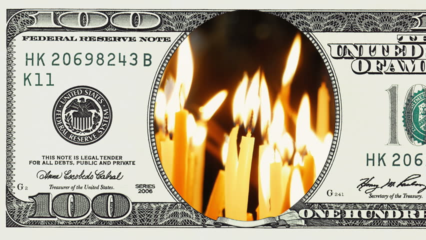 Burning candles in frame of 100 dollar bill. Money gain or lose concept. | Shutterstock HD Video #1018092514