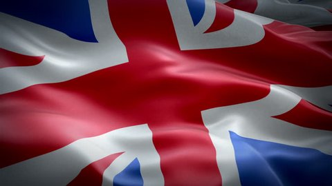 Flag of United Kingdom waving flag. National 3d UK British flag waving. Sign of UK Union Jack seamless loop waving animation. Great Britain England flag HD resolution Background. 1080p Full HD video