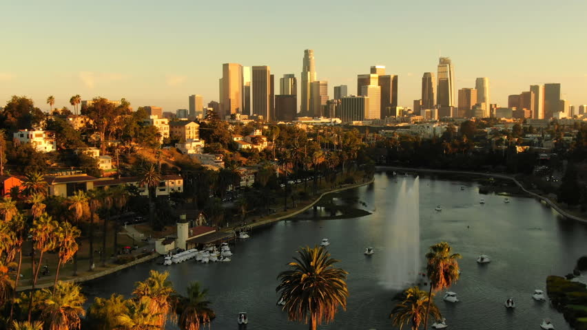 Los Angeles Fountain in Echo Park Lake Aerial Establish Shot Sunset | Shutterstock HD Video #1018167334