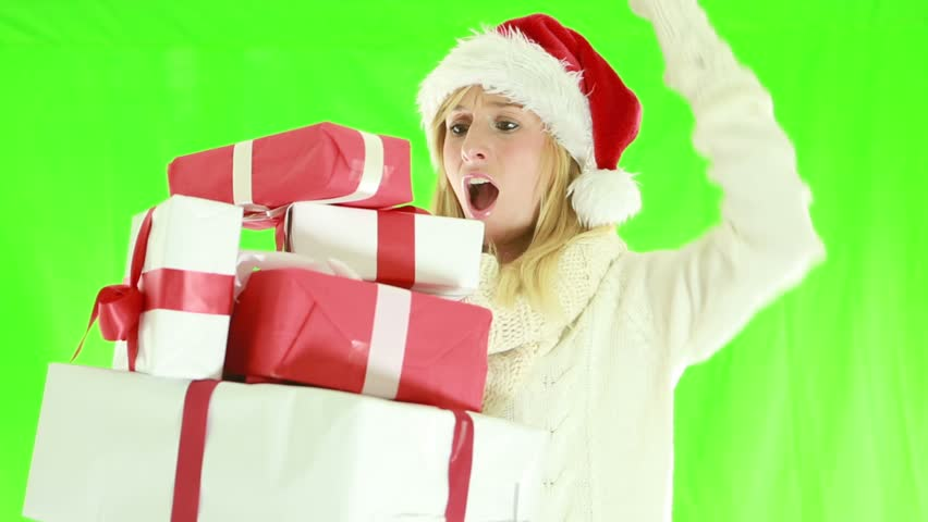 Busy Christmas shopping-Woman falling with presents. Green screen | Shutterstock HD Video #1018174954