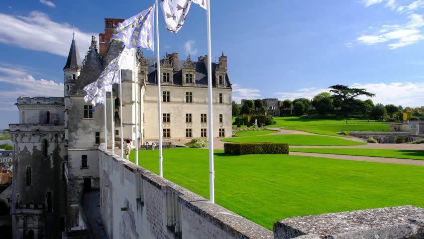 Amboise-France/Loire - October 10 2019 - The western side of the Royal Amboise castle, on the Loire castle - Motion view