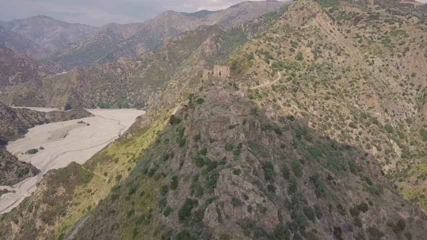 Cinematic flyby 4k aerial of the ghost town of Amendolea, Calabria, Italy | Shutterstock HD Video #1018190764