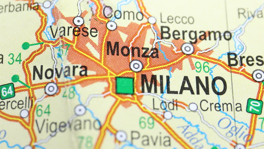 City Milano on the map, angle changing from non-focus to focus and back | Shutterstock HD Video #1018192954