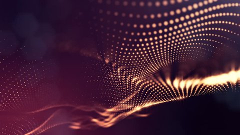 abstract golden red looped background of glowing particles like Chrisrmas garland. Dark composition with oscillating luminous particles that form surface. Smooth animation looped.