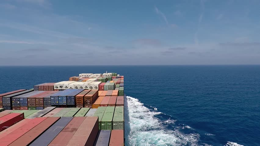 Onboard of huge Container ship during underway, right view #1018219264