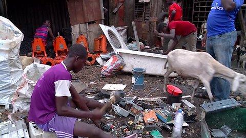 Abidjan, Cote d'Ivoire - 09 19 2016: ABIDJAN, IVORY COAST, September 2016. European electronic waste dangerously recycled in Abidjan, Africa.