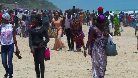 Grand Bassam, Cote d'Ivoire - 09 26 2016: GRAND BASSAM, IVORY COAST, AFRICA. SEPTEMBER 2016. Views of the famous Ivorian beach