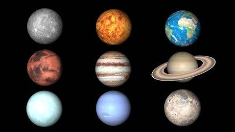 All planets of Solar System. Mercury, Venus, World, Mars, Jupiter, Saturn, Neptune, Uranus, Pluto are rotating.