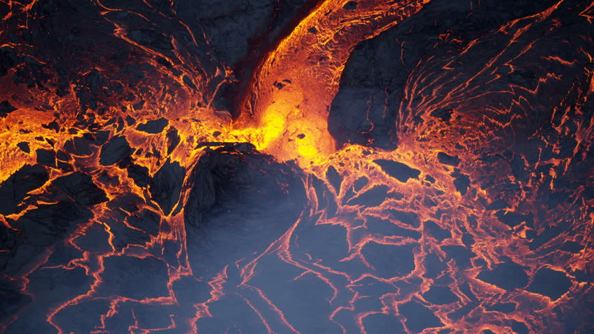 Aerial view of volcanic lava a river of natural erupting red hot liquid emanating from within earths mantle Kilauea Hawaii USA RED WEAPON #1018425754