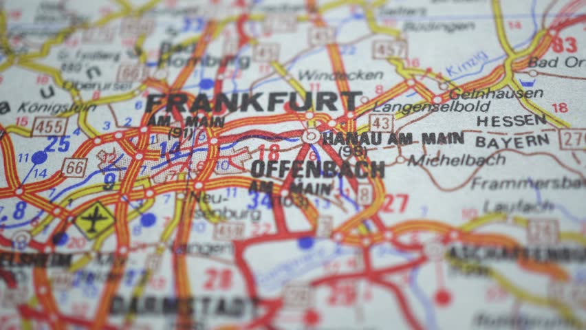 Frankfurt On Europe Map Dolly Stock Footage Video 100 Royalty