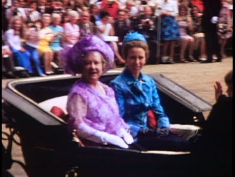 LONDON, ENGLAND, 1976, Trooping the Colour, Queen Mother and Princess Anne