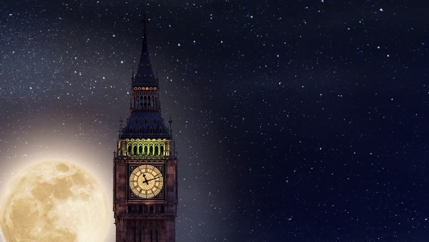 Big Ben Tower with the Full Moon