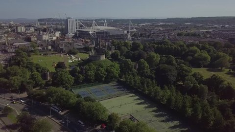 Wales, Cardiff, UK - June 22, 2018: Cardiff castle aerial view