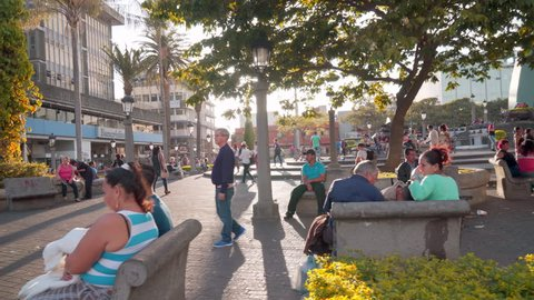 San Jose, San Jose / Costa Rica - 03 20 2017: People relaxing and walking in a park in downtown San Jose