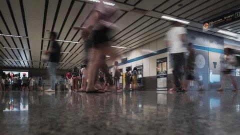 BANGKOK, THAILAND - 28 October 2018: timelapes many people buying ticket at subway at Thailand Cultural Centre MRT station.