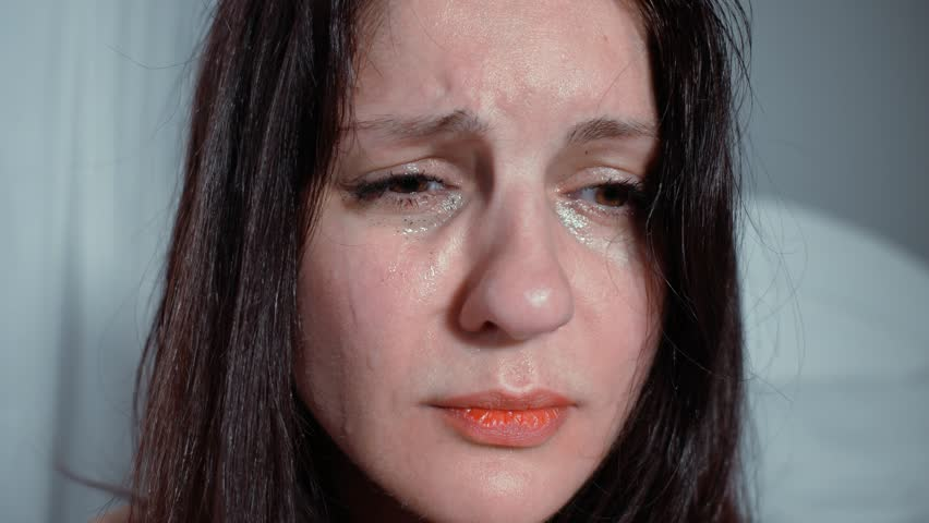 4k Brunette Woman Crying On Stock Footage Video 100 Royalty