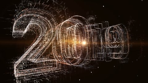 computer generated 3D: New year 2019 greeting glowing text number and  particles animation