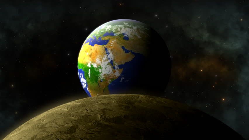 View of Earth from over the Moon.