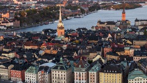 Aerial Shot of Stockholm, Gamla Stan, Sweden